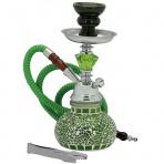 Vodná fajka Mozaika zelená 26 cm + kufrík